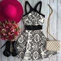 Verão 2016 novas mulheres casuais mini vestidos vintage floral impresso sem mangas fora do ombro moda cintura alta uma linha de vestidos