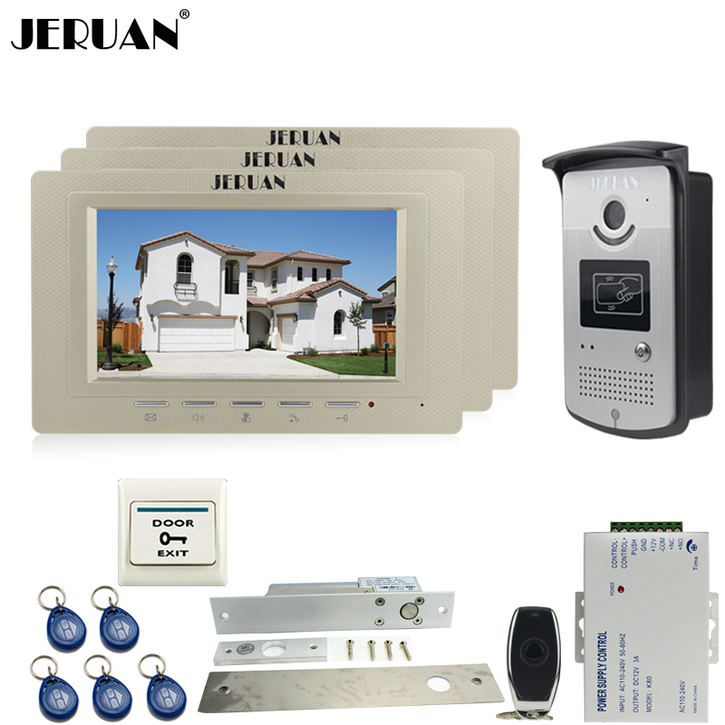 JERUAN 7`` LCD video door phone Entry intercom system kit Aluminum panel 700TVL RFID Access IR Night Vision Camera 1V3 In stock