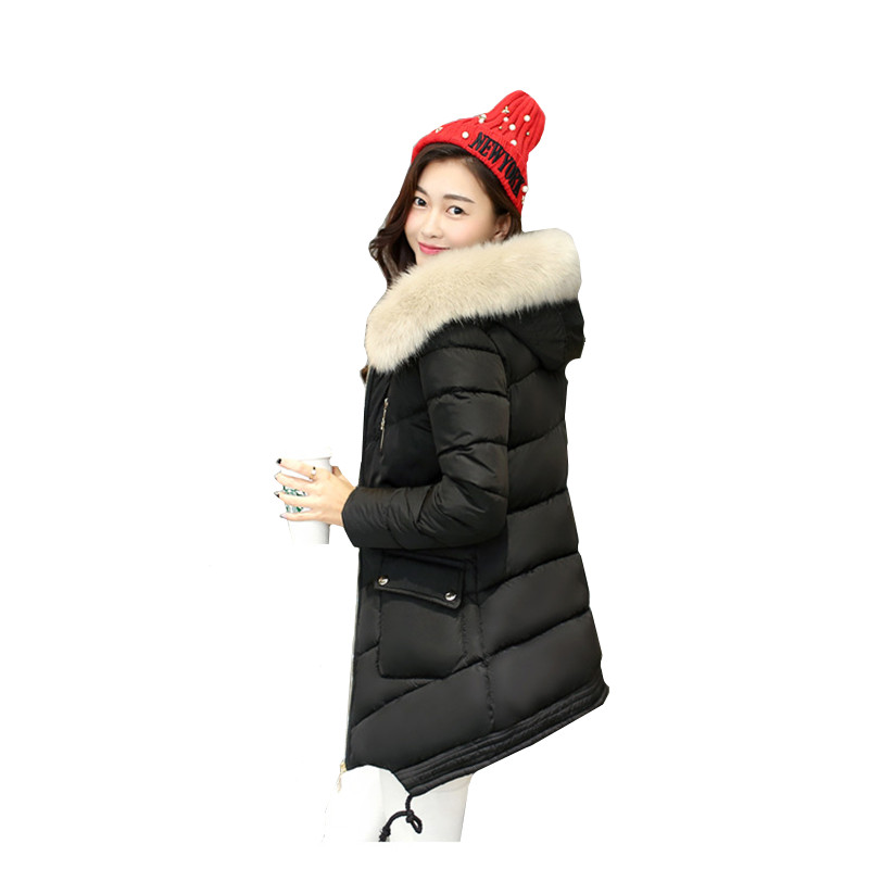 2017 winter cotton-padded clothes female  cotton-padded  cap   female in long warm coat winter jacket women