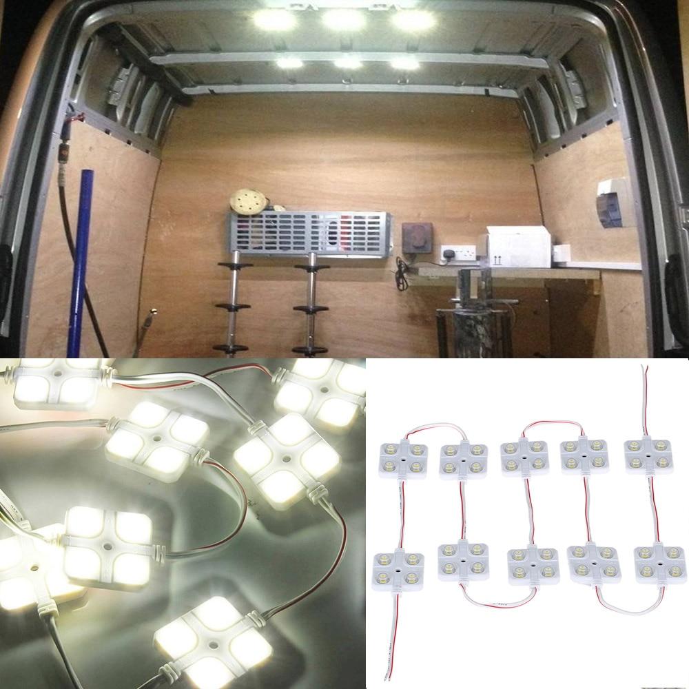12v 10x4 Led Car Interior Lighting Lamp Waterproof Inside Roof Light Kit For Rv Van Boat Trailer
