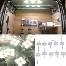 906dff41b52 12 V 10x4 lámpara LED de iluminación Interior de coche impermeable dentro  del Kit de luz de techo para remolque de barco RV Van .