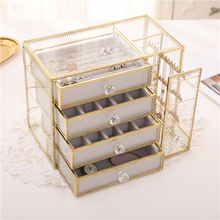 Retro European Jewelry Box Nordic Style Glass Gold Copper Edge Earrings Ring Necklace Dust Storage