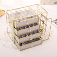 Retro European Jewelry Box Nordic Style Glass Gold Copper Edge Earrings Ring Necklace Dust Storage Box