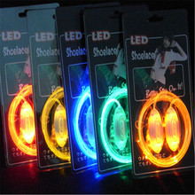 1 Pair Led Light Luminous Shoelace Glowing Shoe laces Glow Stick Flashing Colored Neon Shoelace chaussures 2017 led shoelace