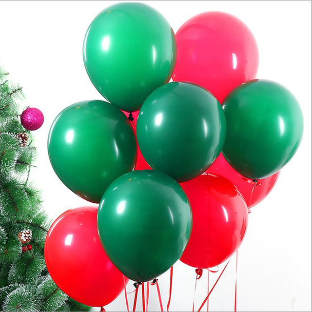 30pcs 12 christmas decoration red green latex balloons good quality party balloon decoration picture background - Christmas Balloon Decor