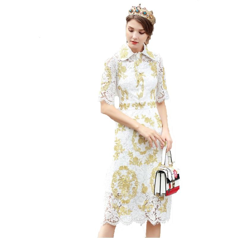 D'été À Nouvelle Dentelle Mince 2018 Arrivée Vintage Brodé Manches Robe Courtes 171205ul03 REqqtr1xw