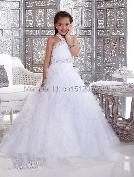Diamond A Line white Halter Ball Gowns bridesmaid Kids Children ...
