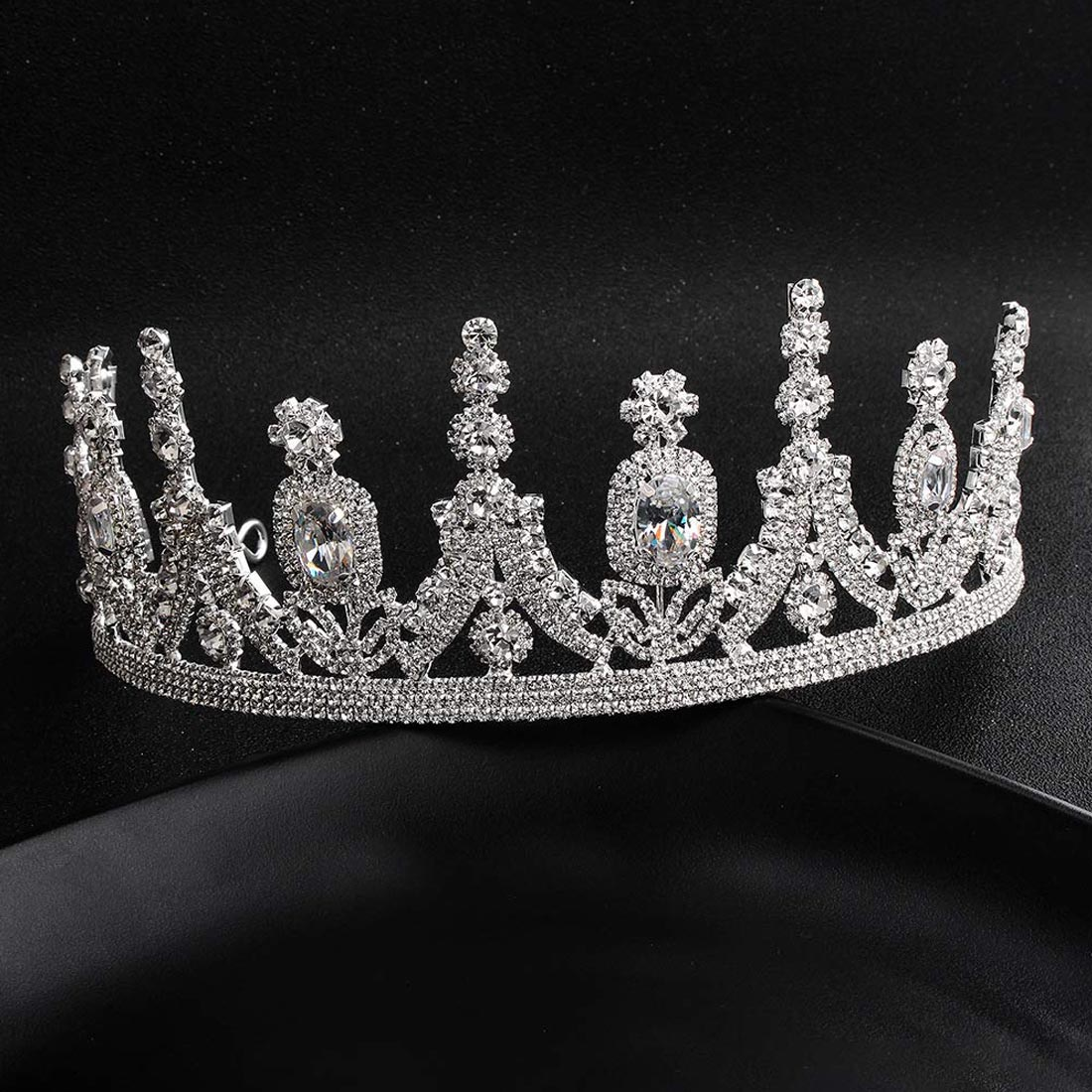 New Vintage Silver Tiara For  Pink Crystal Crowns Wedding Fashion Hair Jewelry Accessories