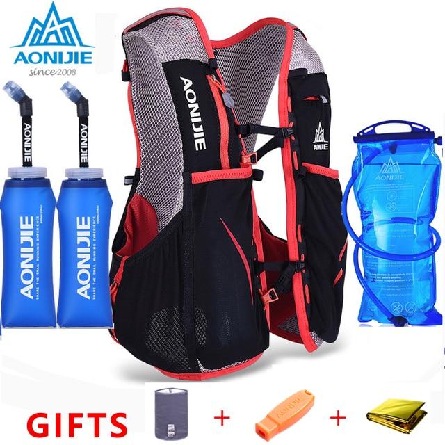 Aonijie 5l saco dos homens das mulheres maratona hidratação colete pacote para 1.5l saco de água ciclismo caminhadas saco esporte ao ar livre correndo mochila