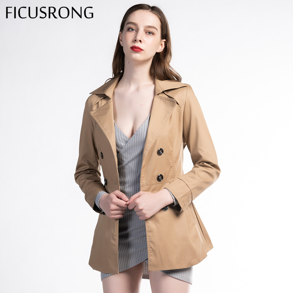 FICUSRONG 2019 New Women Autumn Chic Coat Casual Plus Size Solid Slim Trench Turn Down Collar Double Breasted Outwear