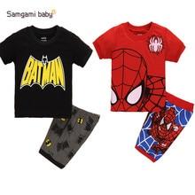SAMGAMI BABY Summer Boys Clothing,Children Suit Boys Cartoon Spiderman Batman Suit,T-shirt + Shorts Pant Two Pieces