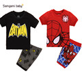 Summer boys clothing,Children suit boys cartoon Spiderman Batman suit,T-shirt + shorts pant two pieces