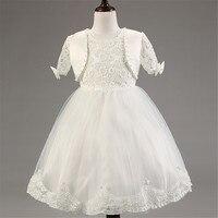 Do Vintage e elegante Princesa Meninas Vestido Branco Para Cerimônias de Casamento Da Menina de Flor Vestidos Com Jacket Crianças Roupa Do Bebê Vestido