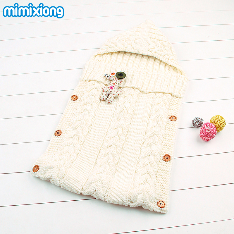 Winter Newborn Sleeping Bags Autumn Knitted Baby Stroller Swaddle Bungkus Selimut Bayi Bayi Bebe Sleep Sampul Sarung 0-12Months
