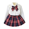 Brand 3T-7T Girls Clothes Spring Plaid Girls Clothing Sets Children Princess Costume for Girls Kids Clothes White Shirt+Skirt