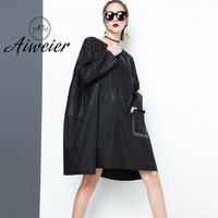 Aiweier 2018 Spring Clothes Dark Round Neck Easy Dress Personality Split Joint Will Code A