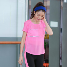 Women Sport Mesh T-Shirt Loose Smock Breathable Ladies Joggings Tees running short shirt yoga tees