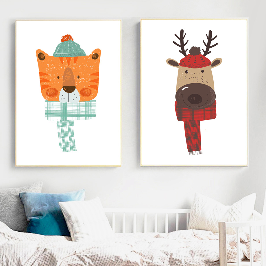 Scarf Bear Fox Panda Deer Rabbit Penguin Wall Art Canvas Painting Cartoon Nordic Posters And Prints Wall Pictures For Kids Room in Painting Calligraphy from Home Garden