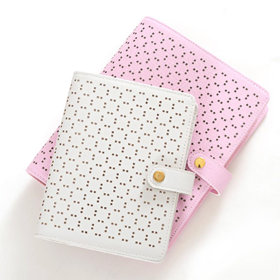A5 A6 Fashion Hollow Buckle Design PU leather Daily Memos loose-leaf Time Planner Agenda Macaron Leather spiral notebook