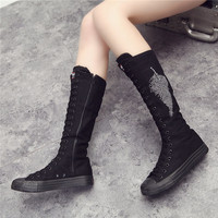 New 2018 Women Boots Canvas Lace Up Knee High Boots Women Motorcycle Flat Casual Tall Punk Shoes Woman Antiskid Side Zipper Shoe