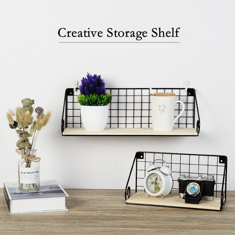 Houmaid Iron Art Storage White Black Shelves On Wall For Sundries Wall Mounted Storage Single Rack For Books Creative Holders