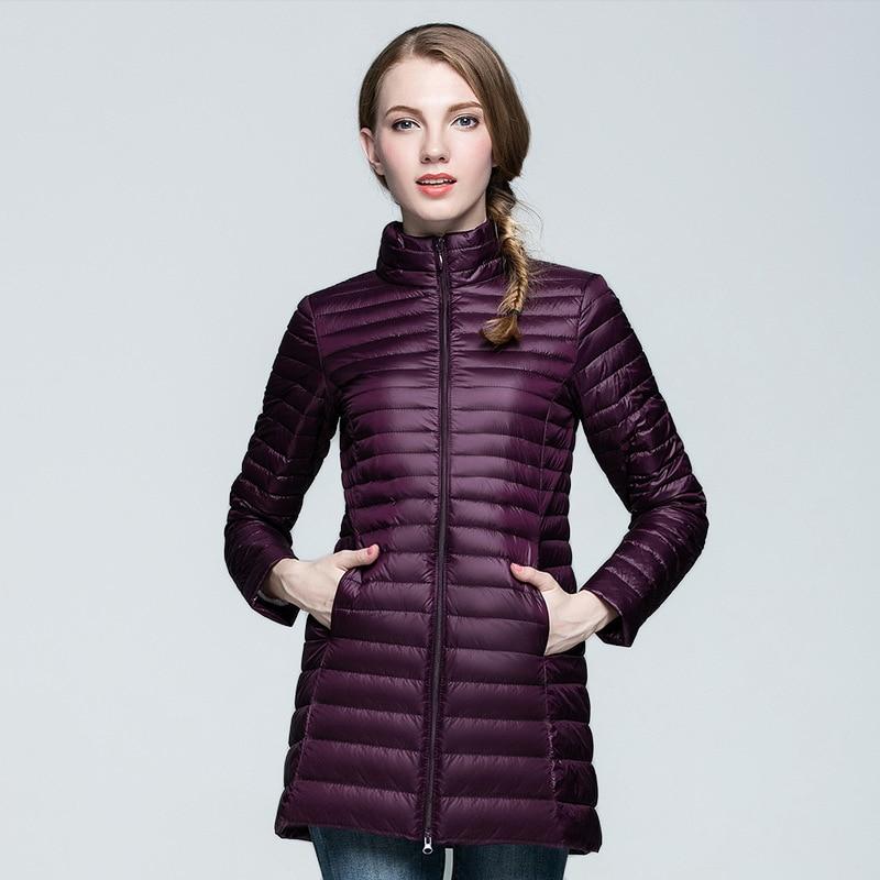 Large Size 2017 Snow Winter Jacket Women Fashion Women's 90% White Duck   Down   Jackets Ultra Light Zipper   Coats   Slim Outwear S-4XL
