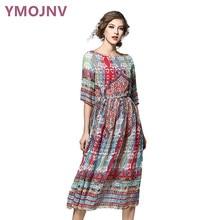 YMOJNV 2017 Summer Dresses Women s Vintage Dress Print Chiffon Dress Slim Dress Plus Size Women