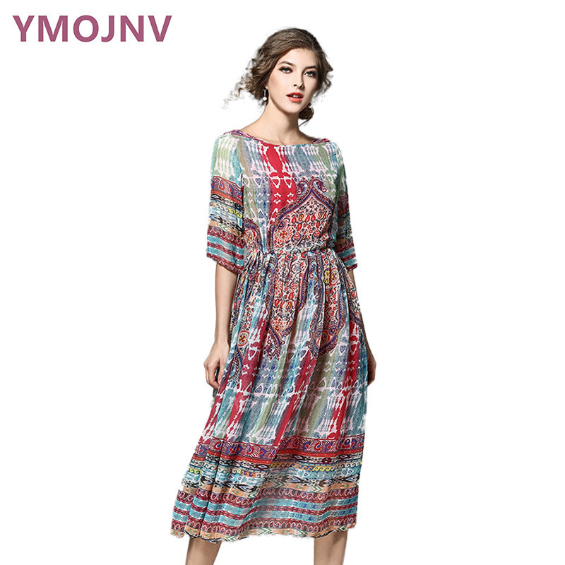 YMOJNV 2017 Summer Dresses font b Women s b font Vintage Dress Print Chiffon Dress Slim