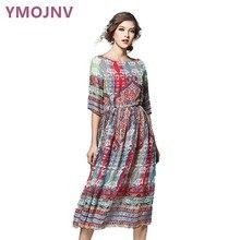 YMOJNV 2017 Verão Vestidos das Mulheres Do Vestido Do Vintage Impressão Vestido de Chiffon de Slim Vestido Plus Size Vestidos de Roupas Mulheres YM028