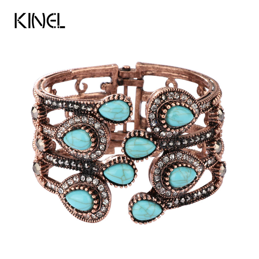 Kinel Turkish Bracelet Bangle For Women Antique Gold Color Inlaid Crystal Retro Jewelry Party Bracelets Accessories
