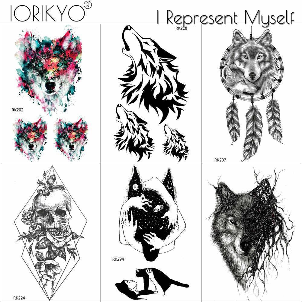 Iorikyo Diy Black Wolf Temporary Tattoo Women Body Art Drawing Geometric Tattoo Stickers Men Totem Death Skull Waterproof Tatoo Aliexpress