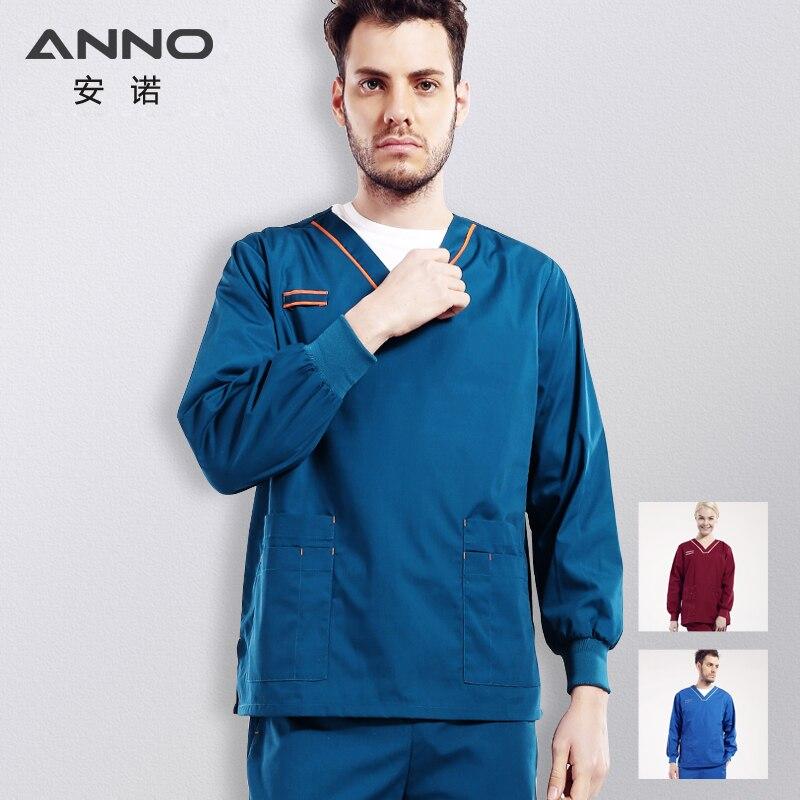 Унисекс медицинской скрабы из пальто с длинным рукавом с дышащей униформа медсестры clinicos верхняя одежда Медицинские костюмы для женщин кур...