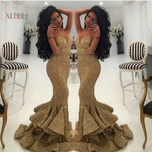 Gold Sequin Elegant Mermaid Sleeveless Long Prom Dresses 2019 Customized Strapless Gown vestido de festa longo Real Photo