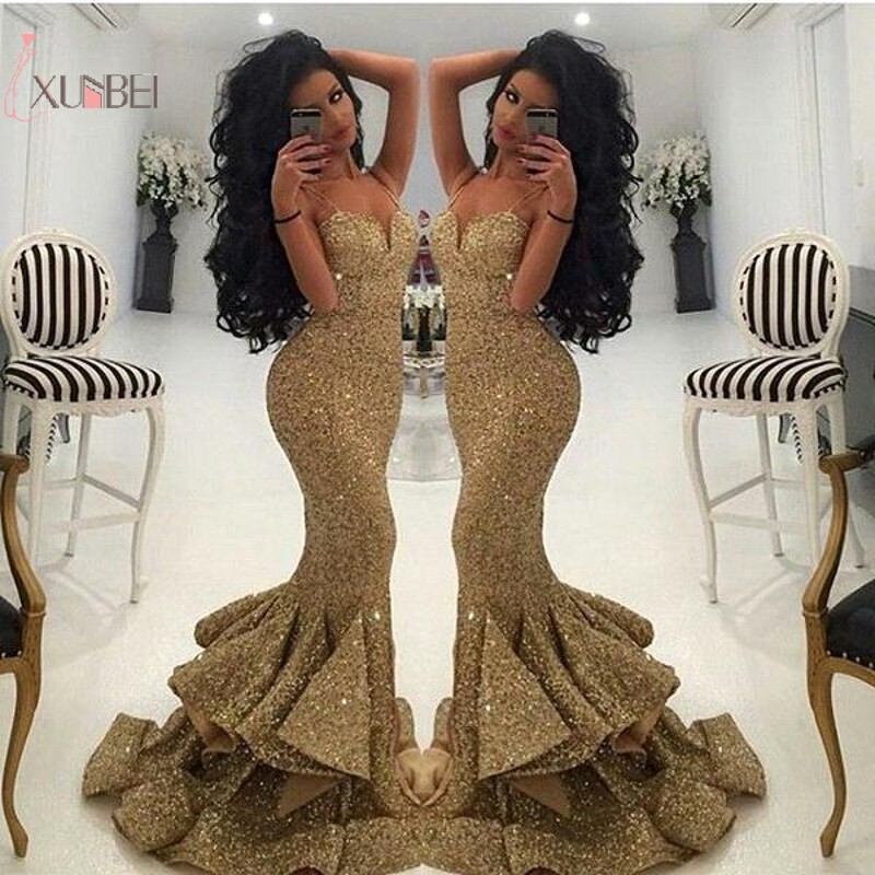 Gold Sequin Elegant Mermaid Sleeveless Long   Prom     Dresses   2019 Customized Strapless   Prom   Gown vestido de festa longo Real Photo