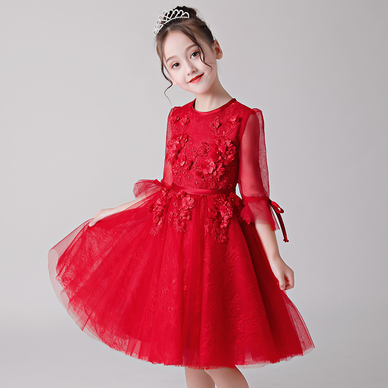 2018 Autumn Winter Children Girls Birthday Wedding First Holy Communion Lace Dress Kids Teens Red Color Tulle Costume Prom Dress ems dhl free shipping little girls kids children autumn winter faux fur waist one piece dress casual summer dress new tulle