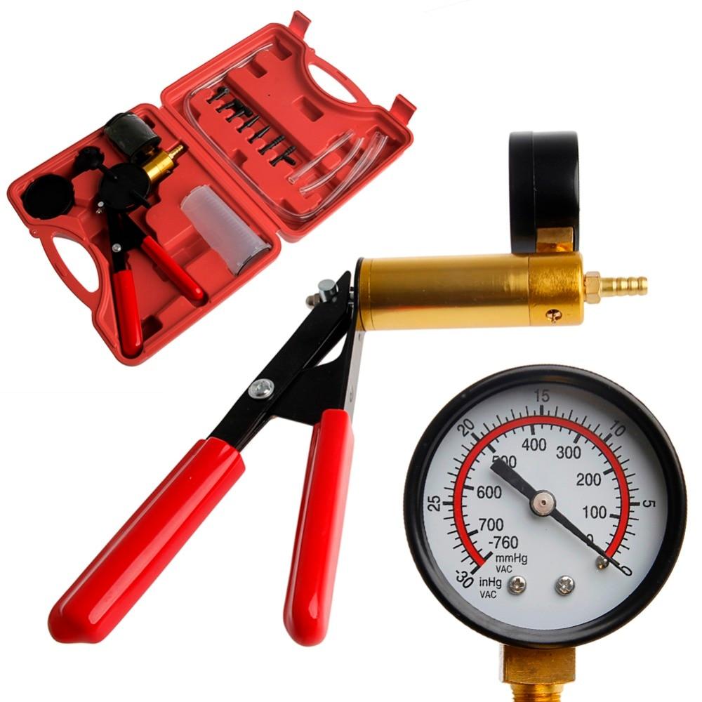 Car Auto Hand Held Vacuum Pump Brake Bleed Adaptors Fluid Reservoir Tester Kit 2 in 1 Tool Drop shipping