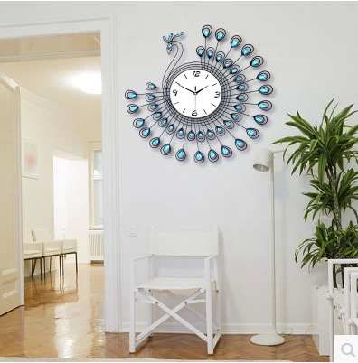 Fashion modern design wall clock peacock clock living room ...