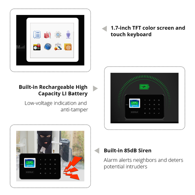 KERUI G18 home alarm wireless GSM security alarm system with motion detector indoor and outdoor camera anti-theft alarm system 4