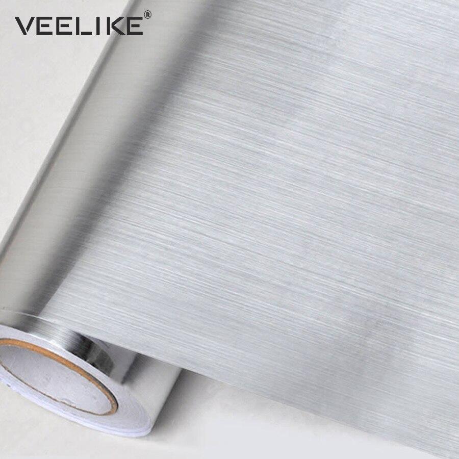 Argento Brush Vinile Adesivo Carta Da Parati Mobili Apparecchio Impermeabile del PVC Wall Sticker Per La Cucina Lavastoviglie Carta di Contatto