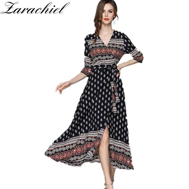 8afbb710a3 Vintage Długa Sukienka 2018 Lato Kobiet Elegancki Seksowny Dekolt  Popędzający talii XXL Tunika Print Podział Wrap