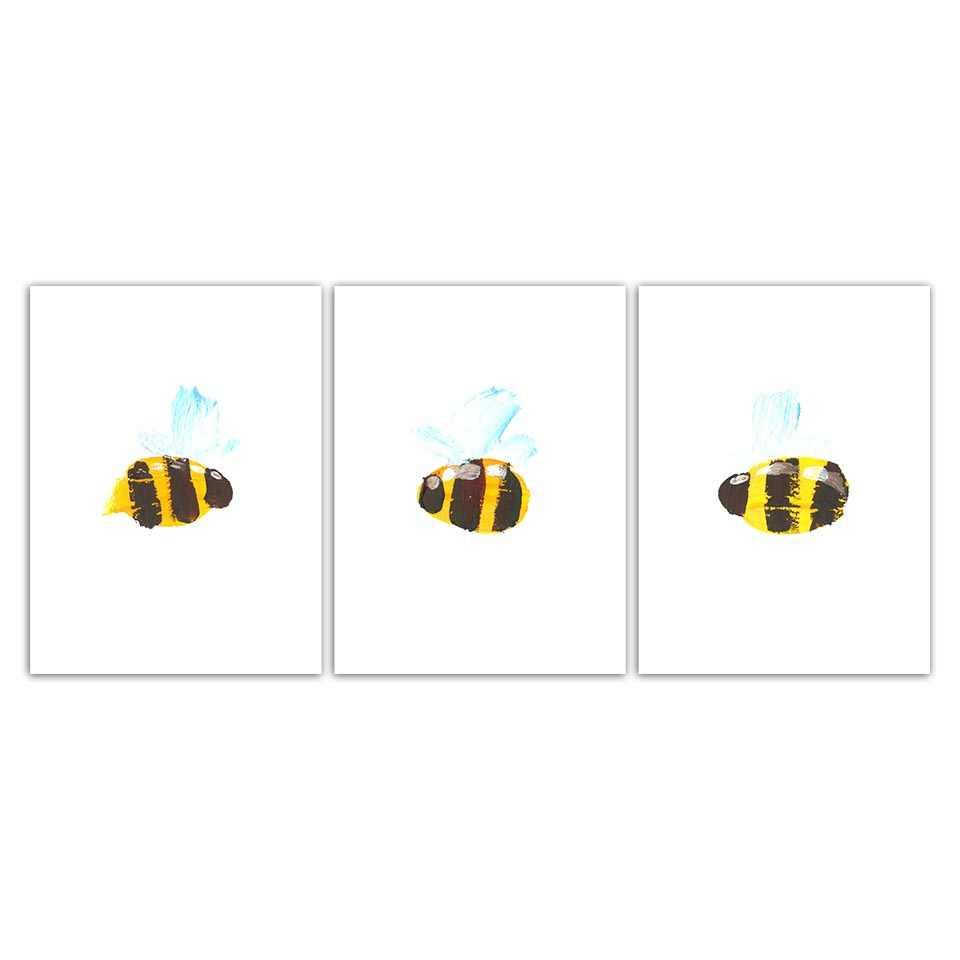 Asli Cat Air HD Seni Cetak Nordic Gaya Abstrak Lebah Poster Dinding Abstrak Gambar Kanvas Lukisan Kantor Dekorasi Rumah