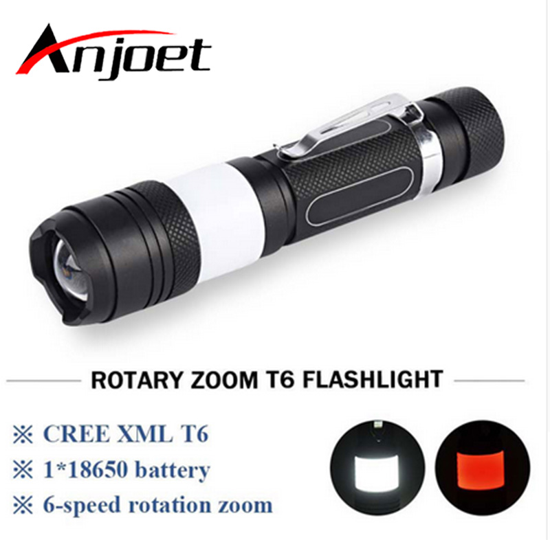 Anjoet Portable Zoom Adjustable flashlight cree xml t6 + COB LED usb Camping flash light torch waterproof lamp 18650 Penlight aisi® portable bright led compass flashlight torch adjustable zoom light lamp