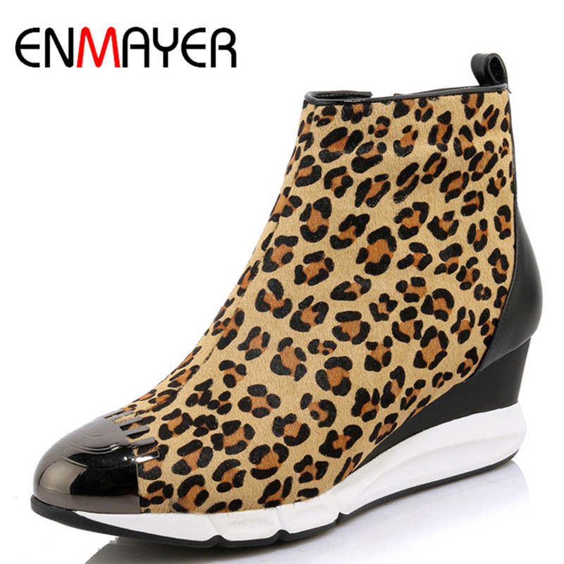 ФОТО ENMAYER New Ankle Boots for Women High Heels Wedges Shoes Woman Sexy Leopard Platform Winter Boots Zippers Shoes Fashion Boots