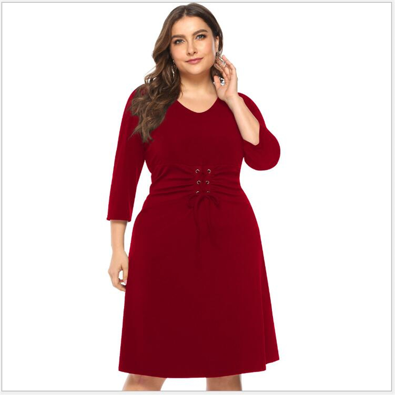US $13.75 41% OFF|2019 Spring Autumn Big Size 3/4 sleeve Women Dress Casual  Patchwork Plus Size Dress Large Sizes Elegant Party Dresses R042-in ...