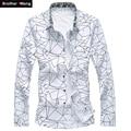 Мужчины Печатных Рубашка С Длинным Рукавом Тонкий Бизнес Отдыха Рубашка Плюс размер 5XL 6XL 7XL Мужчины Повседневная Марка Рубашка Топы 2017 новый