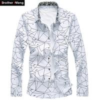 Men Printed Long Sleeve Shirt Slim Business Leisure Shirt Plus Size 5XL 6XL 7XL Male Casual