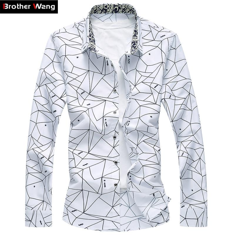 Для мужчин с принтом рубашка с длинными рукавами Тонкий Бизнес Рубашка для  отдыха плюс Размеры 5XL 4343c7b1469