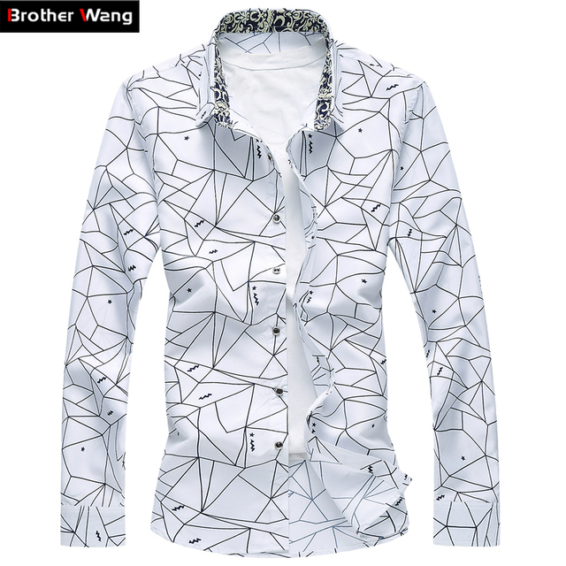 Men Printed Long Sleeve Shirt Slim Business Leisure Shirt Plus Size 5XL 6XL 7XL Male Casual Brand Shirt Tops 2017 New