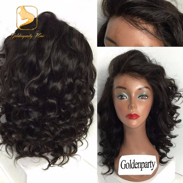short bob human hair wigs 100%Malaysian virgin full lace human hair wigs  for black women body wavy lace front wig with baby hair 2d77d9422cd0