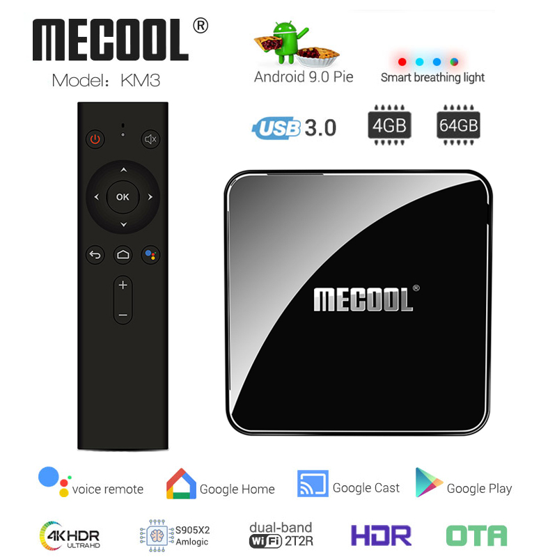 MECOOL KM3 GOOLE CERTIFIED Android 9.0 Voice Control TV Box Amlogic S905X2 BT 4.1 Set Top Box Support 4K HD Media PlayerMECOOL KM3 GOOLE CERTIFIED Android 9.0 Voice Control TV Box Amlogic S905X2 BT 4.1 Set Top Box Support 4K HD Media Player